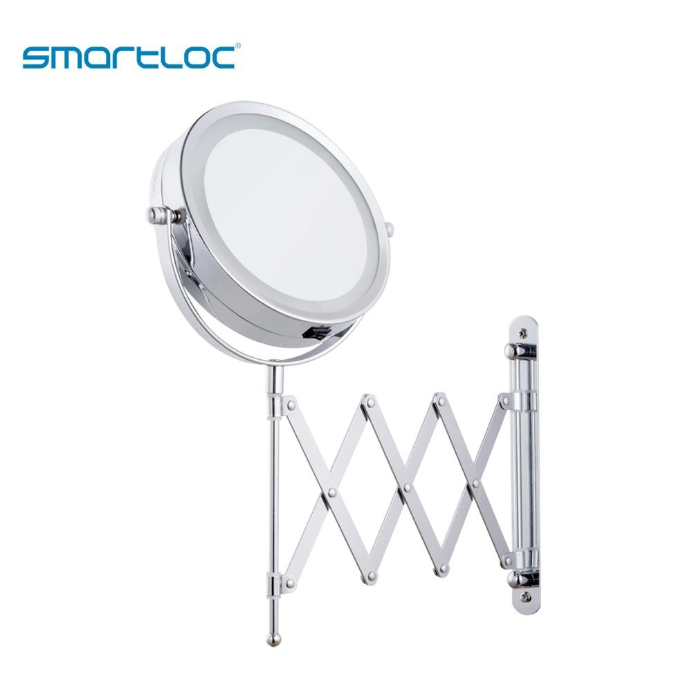 Smartloc-ذراع حديدي ، مثبت على الحائط ، 15 سنتيمتر ، 2 وجه ، تكبير 3X ، ضوء LED ، مرآة حمام ، الغرور ، مرايا معلقة مستديرة