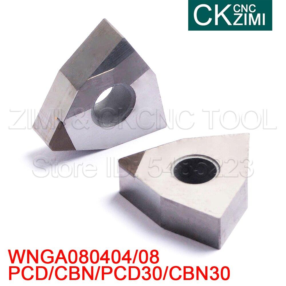 WNGA080404 WNGA080408 PCD CBN PCD30 CBN30 insertos de diamante Herramientas CNC inserciones de carburo WNGA para MWLNR/L soporte de herramientas de acero endurecido