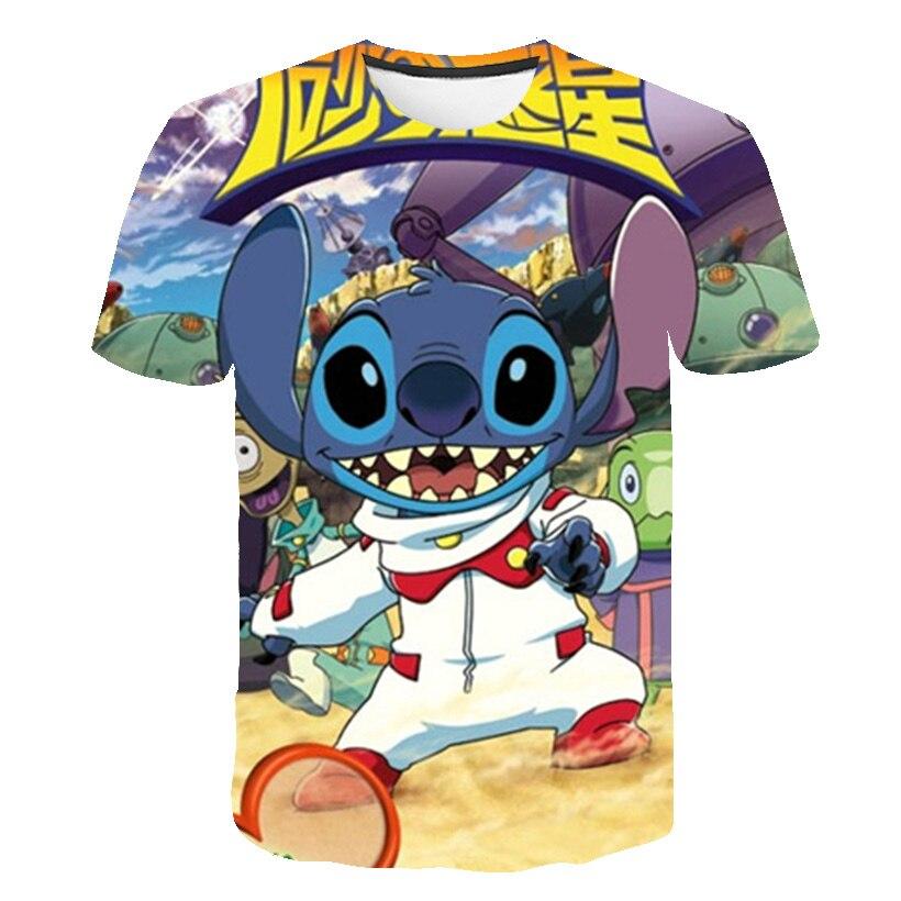 2020 verano 3D Lilo Stitch ropa de niñas Kawaii niños camiseta niños Anime niños ropa de dibujos animados camisetas Casual camisetas Tops