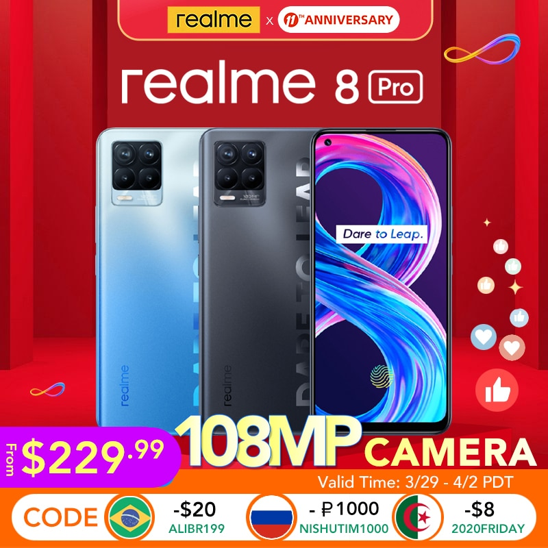 [World Premiere Shipment from 3/30!] realme 8 Pro Global Version 6GB/8GB 128GB 108MP Camera 50W SuperDart Charge Super AMOLED