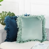 soft feather velvet cushion cover throw pillow cover modern solid color waist pillowcase for living room sofa home decorative