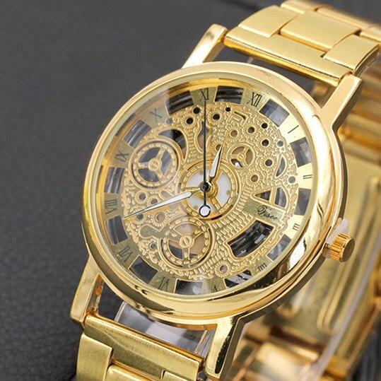 Gold/Silber Uhr Hohlen Voll Stahl Frauen Männer Unisex Retro Uhren Hombre Quarz armbanduhr Mode Luxus Uhr Drop verschiffen