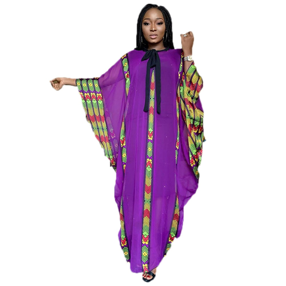 Vestido africano para mujer caftán maxi vestido largo dashiki chiffon bubu robe para fiesta de gran tamaño