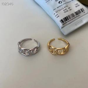 S925 Sterling Silver South Korea Open Design Adjustable ring female Lady ornament 18K Gold Vacuum Plated Silver