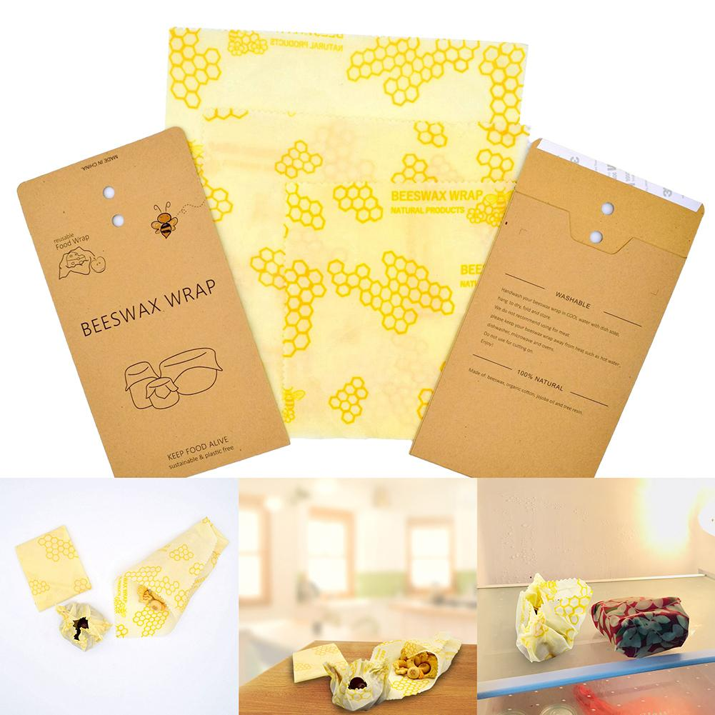3 unids/set reutilizable respetuoso con el medio ambiente Natural cera de abejas almacenamiento de alimentos Wrap Cloth mantenimiento fresco bolsa tapa cubierta herramientas de cocina