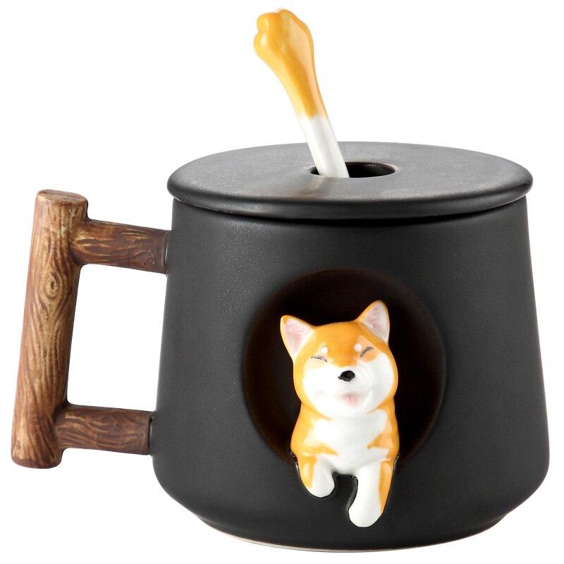 Taza de cerámica con estampado creativo de perro de dibujos animados, taza de café con Latte de estilo nórdico personalizada hecha a mano de cerámica, taza de trabajo II50MKB