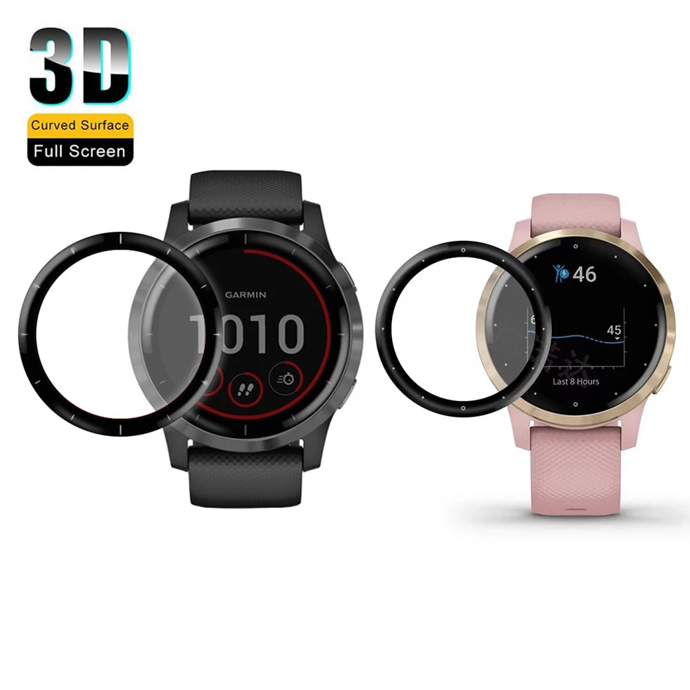 2pcs 3D Curved Protective Film For Garmin Vivoactive 4 / 4S Smart Watch Full Screen Protector Film C