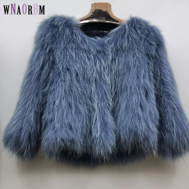 2021 New raccoon fur womens in autumn and winter young fashion 100% real fur, fox coat Length 60 cm