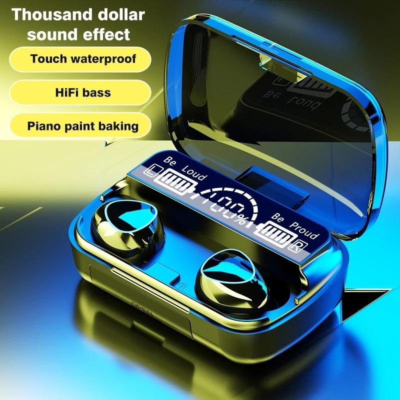 TWS Wireless Earphones Bluetooth Compatible Headphone 9D Stereo Sports Waterproof Earbuds Headsets W