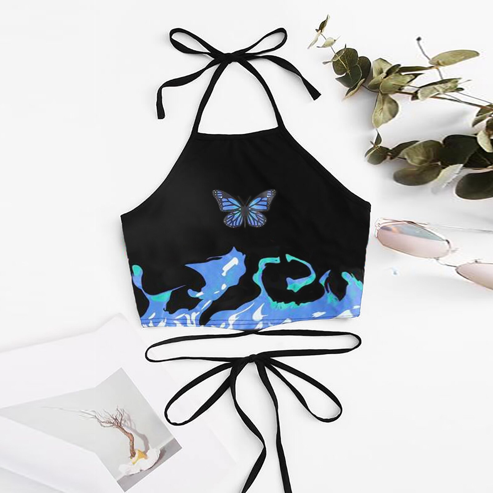 #47 cultivos Top mujeres sin mangas De moda Woemn mariposa impresión atado...