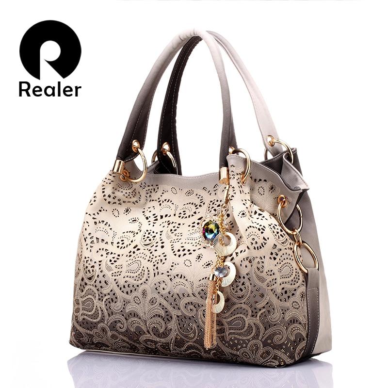 REALER большая сумка женская через плечо с орнаментом,сумки женские, ажурная сумка хобо из тисненой искуственной кожи,дамские сумочки,