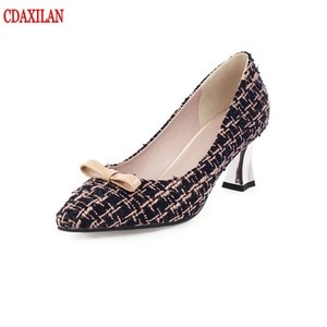 CDAXILAN new arrivals pumps women knitted fabric with pointed toe shallow high heels square heels shoes sweet ladies in spring