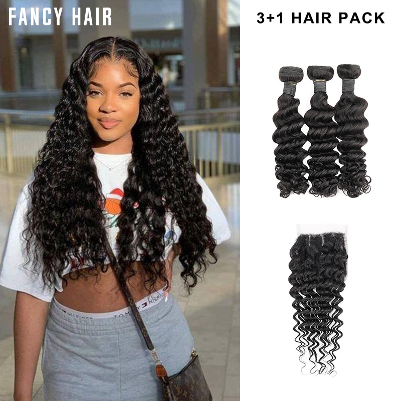 3 + 1 fasci di capelli ad onda profonda Bliss Toocci Virgin Remy estensioni brasiliane dei capelli umani tessono i capelli ricci profondi 3 fasci con chiusura
