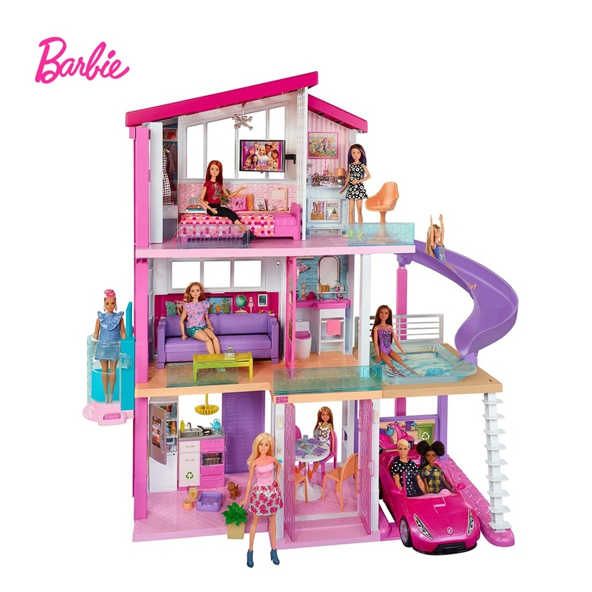 Casa de muñecas Barbie de Dreamhouse con piscina, Tobogán, elevador, 3 juguetes...