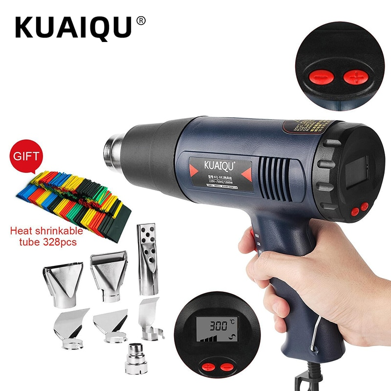 Digital Electric Hot Air Gun Temperature-Controlled Building Hair Dryer Heat Gun Soldering Tools Adjustable+ 7pcs Nozzle 220V