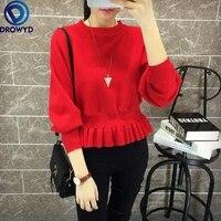 2021 spring autumn new sweater women korean version loose waist lace hedging short slim bat long sleeve streetwear chic sweater