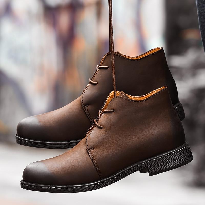 أحذية رعاة البقر الرجالية عالية الجودة التي تسمح بمرور الهواء ، أحذية أدوات ريترو ، أحذية عصرية من الجلد الطبيعي للرجال ، لفصل الشتاء الدافئ ...