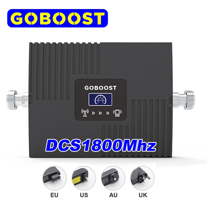 GOBOOST 4G GSM Signal Booster DCS 1800Mhz Celluar Amplifier Led Dispaly with a Power Supply Pulg 4 Options EU US AU UK