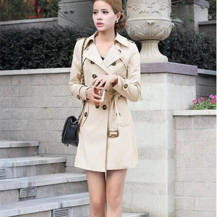 Gabardina larga con doble botonadura para Mujer, abrigo ajustado, abrigo para primavera...