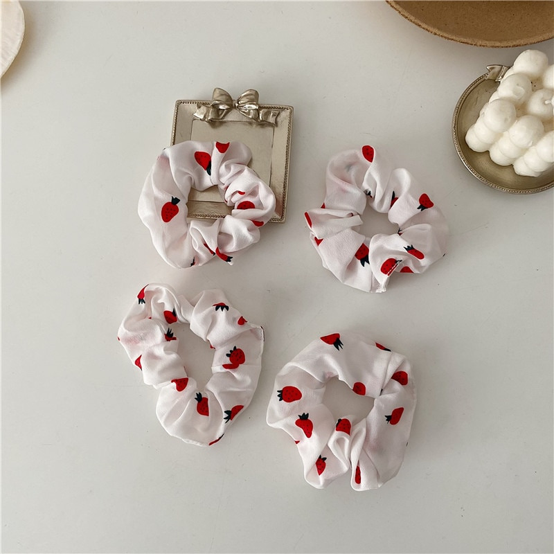 Strawberry Large Intestine Hair Band Ins Korean Cute Girl Students' Hair Accessories Hair Rope Chiff