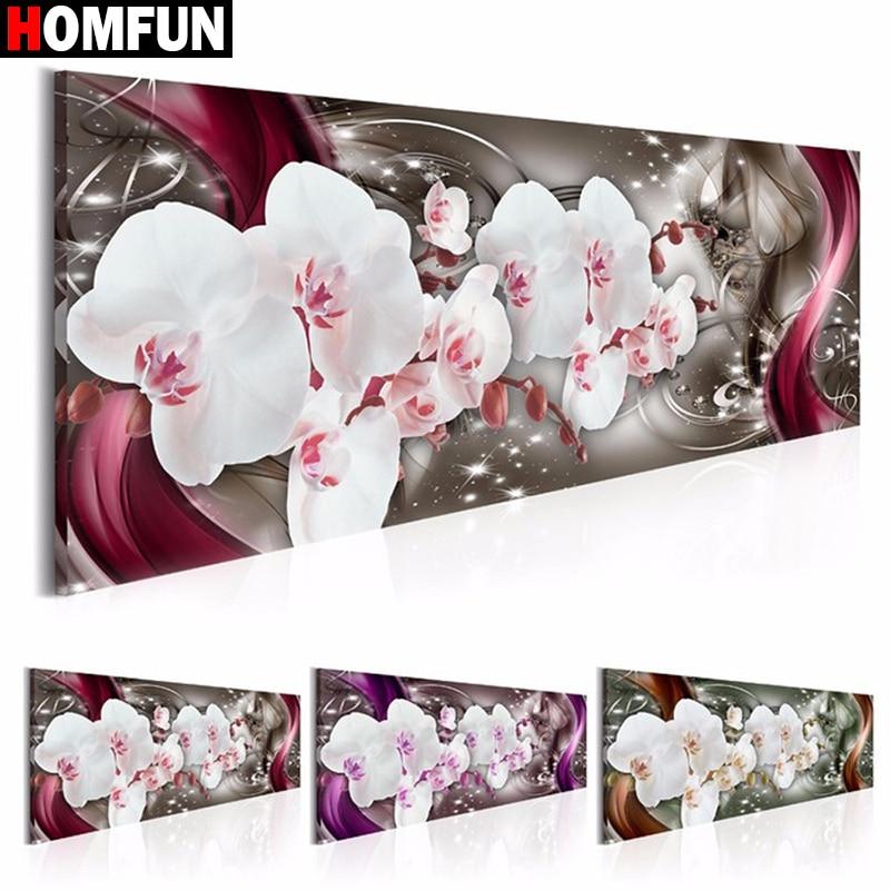 "HOMFUN Voll Platz/Runde Bohrer 5D DIY Diamant Malerei ""Orchidee Blumen"" 3D Stickerei Kreuz Stich 5D Hause decor Geschenk BK01"