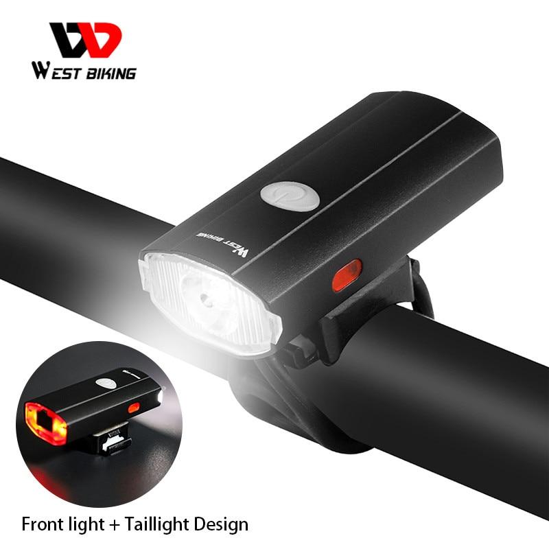 WEST bicicleta luz delantera de la bicicleta 2000mAh USB de la batería recargable de bicicleta faro casco impermeable Seguridad al aire libre bicicleta linterna de la lámpara de