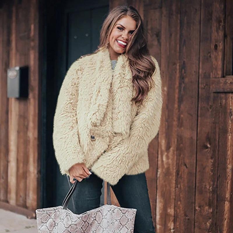 Модное зимнее пальто, женская теплая плюшевая куртка из искусственного меха, меховые пальто с лацканами, пальто, мишка тедди, куртка, размер...