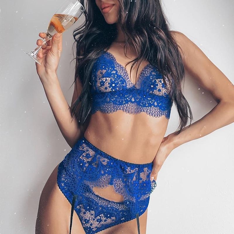 Sexy arnés de ropa interior de encaje transparente sujetador de 3 piezas y Panty Set de talla grande liguero para mujer ropa de dormir de encaje azul transparente
