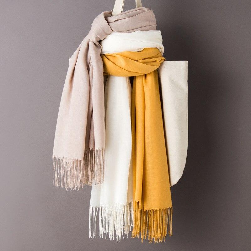 Frauen Einfarbig Kaschmir Schals mit Quaste 2019 Herbst Neue Weiche Warme Dame Mädchen Wraps Dünnen Langen Schal Weibliche Schal männer Schal