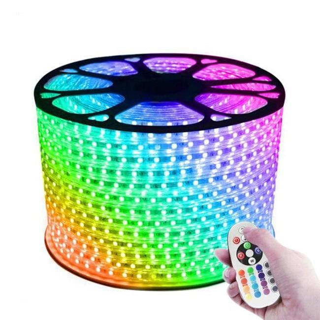 Tira de luces LED de 220V, 110V, 5050 m, 100m, IP67, resistente al agua, RGB, 16, con cuerda de colores, iluminación con RF, sincronización de música, Bluet, tiras LED RGB resistentes al agua