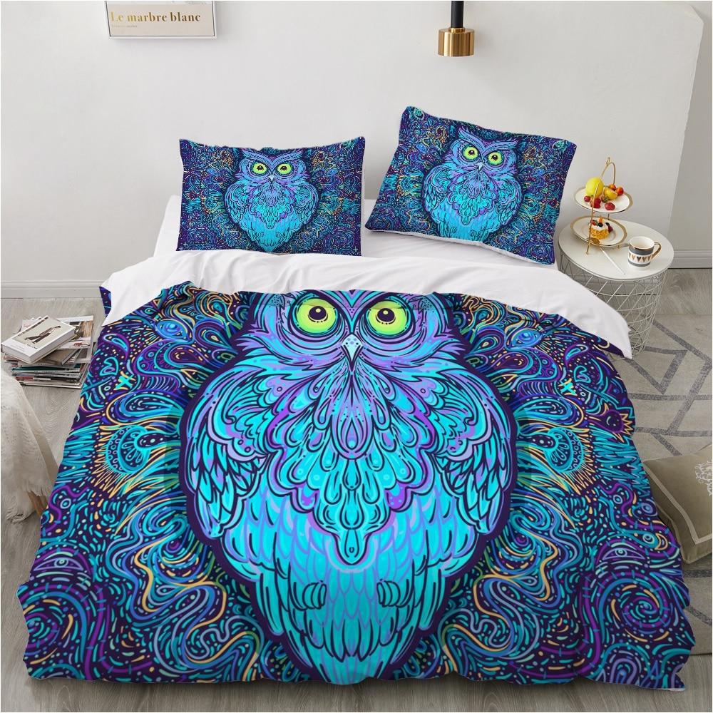 Custom 3D Duvet Cover Set,Luxury Bedding Set King/Queen/Twin Size,Print Quilt Cover Set,2/3PCS bedclothes,Bed Set Bohomain Owl