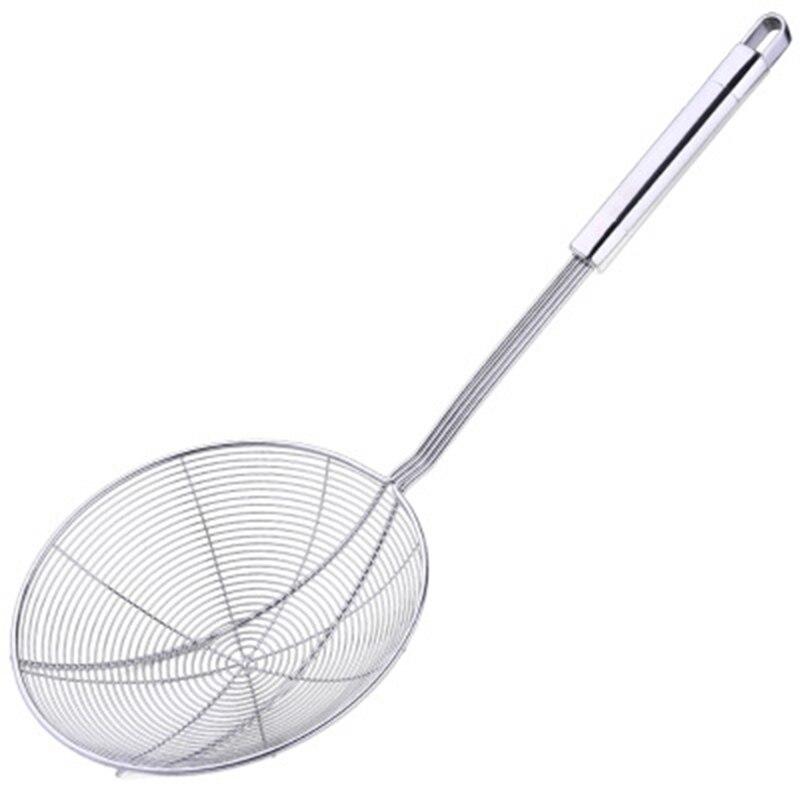 StrainerSpiral شبكة مقشدة ملعقة مغرفة مع مقبض طويل-عززت مزدوجة لفائف مشقوق ملاعق للطبخ و القلي