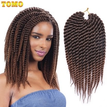 TOMO Hair Senegalese Twist Synthetic Braiding Hair Extensions 12 18inch 12roots/Pack Black Brown Green Color Ombre Crochet Hair
