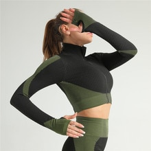 Nueva Camiseta deportiva de manga larga para mujer, prenda superior corta sin costuras para Yoga y gimnasio