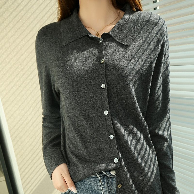 Горячая Распродажа, женские куртки, Новое поступление 2021, кардиганы, вязаная одежда из 100% шерсти с длинным рукавом, женские свитера с воротн...
