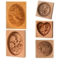 carved wooden baking cookie mold diy gingerbread cookie cutter mould practical kitchen tools easy operation baking tool workable