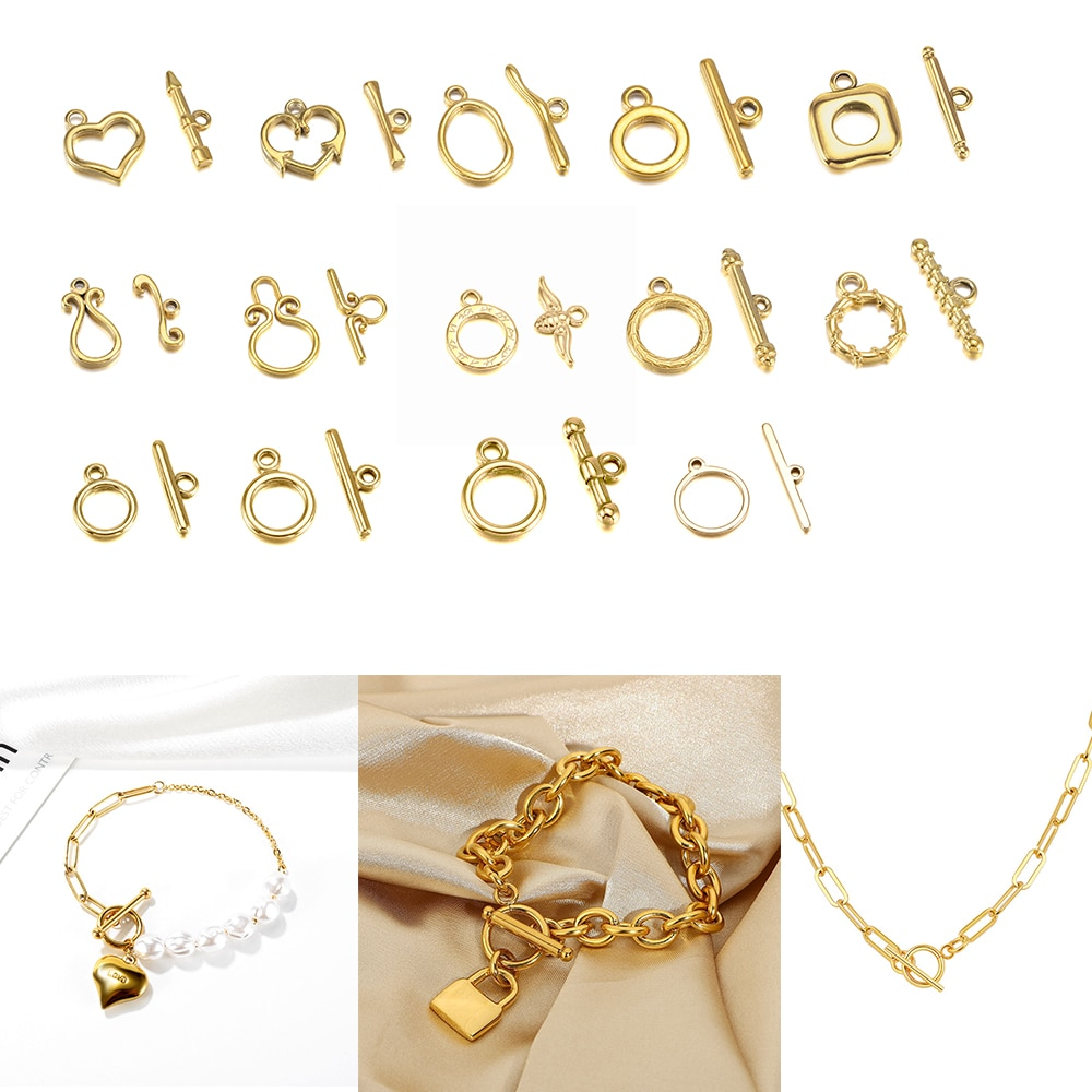 3Set Gold Stainless Stee OT Clasps Toggle Findings Buckle Connector for Bracelet Necklace Jewelry Making Supplies 16 Kind