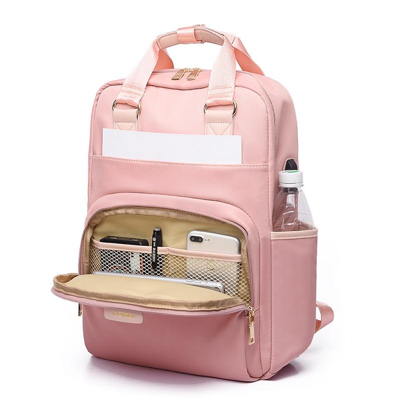 Stylish Waterproof Laptop Backpack 15.6 Women Fashion Backpack for girls Black Backpack Female large Bag 13 13.3 14 15 inch Pink