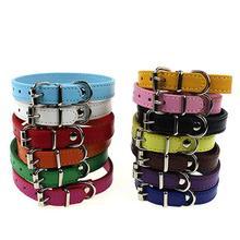Dog Pet Cat Puppy Cute Faux Leather Pure Color Adjustable Neck Buckle Collar