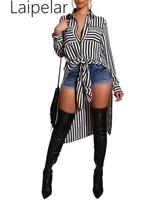 black white stripe shirt dress women turn down collar lace up maxi plus size dress irregular buttons long sleeve autumn dress