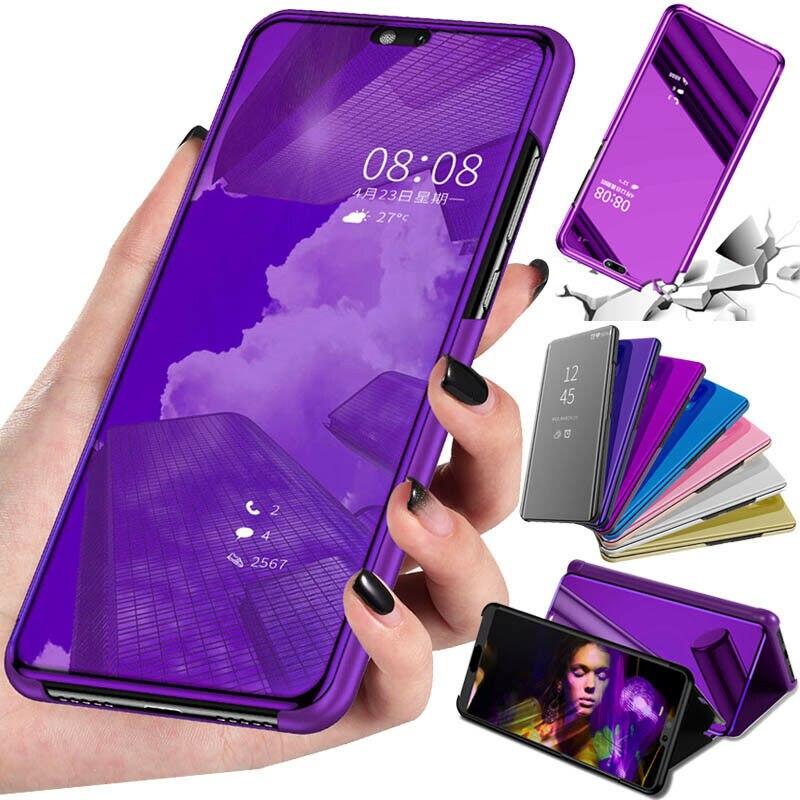 Smart Mirror moda Flip Funda de cuero para Huawei Y6 Y7 2019 Honor 8A 8C 8X View 20 10 Lite PCT-L29 DUB-LX1 coque con soporte