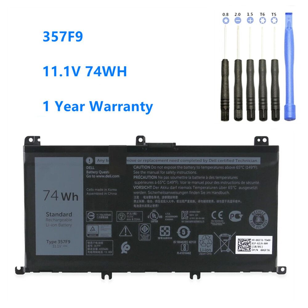 357F9 Laptop Battery For Dell Inspiron 15 7559 7000 7557 7567 7566 5576 5577 P57F P65F INS15PD-1548B