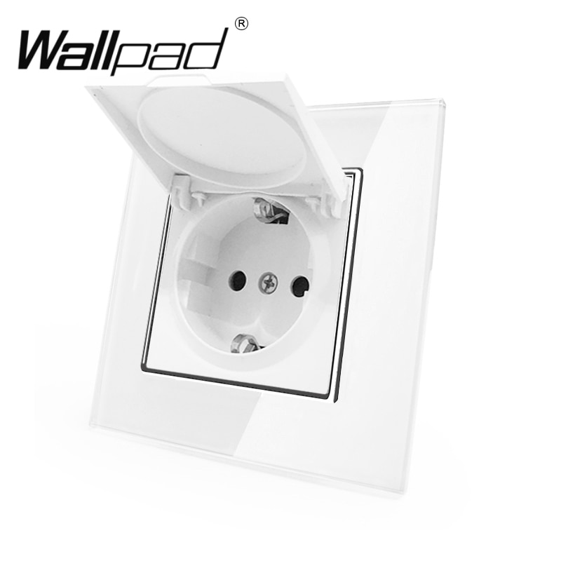 1 Gang Stofkap Schuko Socket Wallpad White Crystal Glass Panel 110 V-250 V Schuko Stopcontact EU met Klauwen Haak Clips
