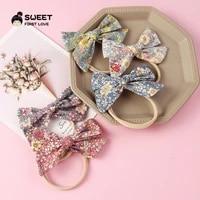 1pc cotton hair bows for baby girls print bow nylon headbands newborn head wraps elatisc hair band hair accessories baby gifts