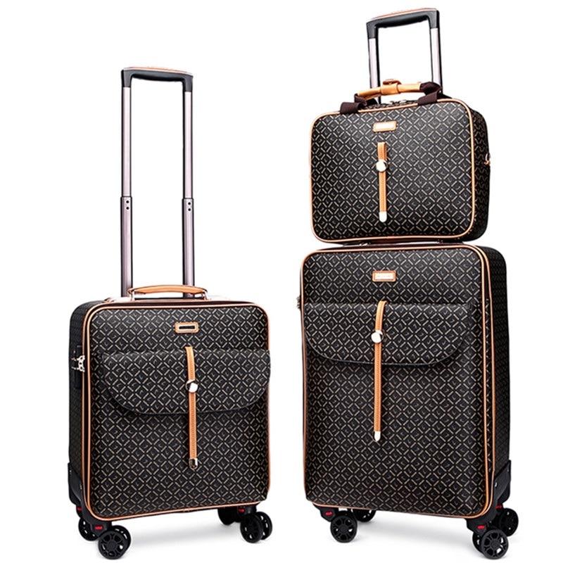 "Alta calidad 16 ""24"" pulgadas retro mujer equipaje bolsa de viaje con bolso maleta con ruedas set sobre ruedas"