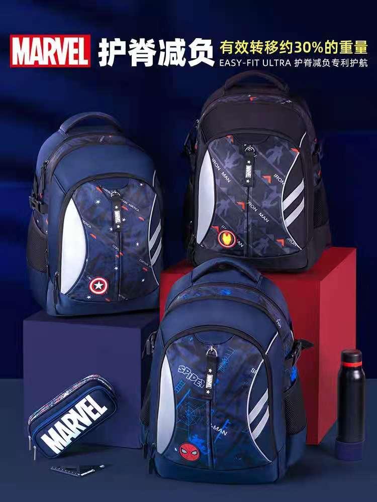 Disney Marvel School Bags For Boy Primary Student Shoulder Orthopedic Backpack Grade 1-5 Spider Iron Man Captain America Mochila