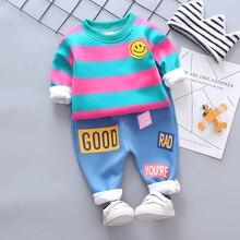 Automne hiver vêtements pour bébés costumes bébé filles garçons vêtements ensembles Plus épais velours rayure sourire visage t-shirt pantalon enfant Costume