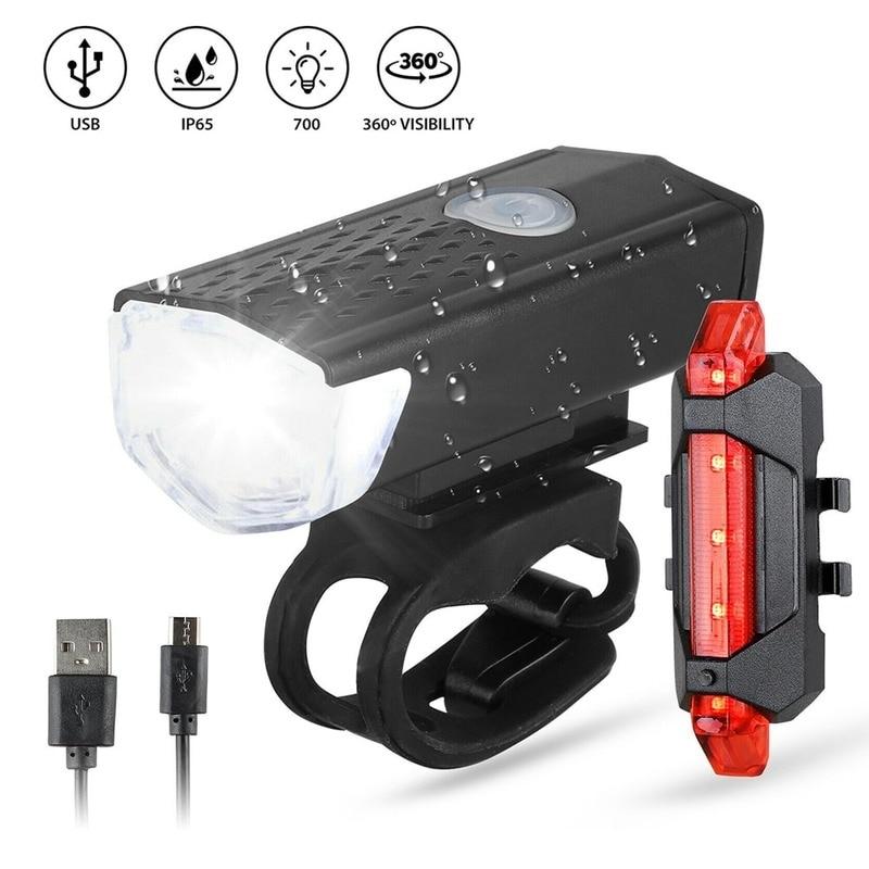 Luz LED recargable USB para bicicleta faro delantero y trasero para bicicleta...