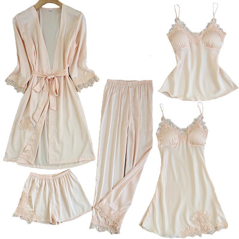 Satin Lace Pajamas Sets Womens 5PC Strap Top Pants Suit Sleepwear Spring Autumn Home Wear Nightwear Bath Gown M-XL