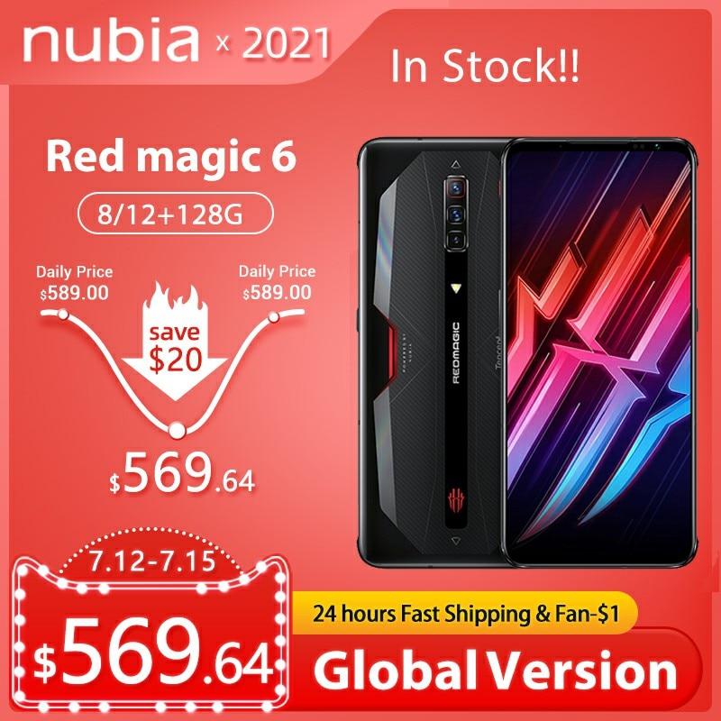 Глобальная версия Nubia красный Магия 6 5G игровые смартфоны Snapdragon 888 рамка Redmagic мобильный телефон 5050 мА/ч, Google Play 30 Вт Супер заряда